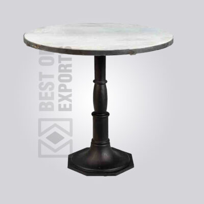 Industrial Pedestal Table with Marble Top