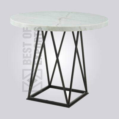 Industrial Round Marble Bar Table