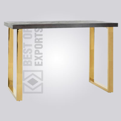 Industrial Square Bar Table - Brass Finish Lags