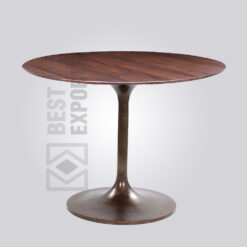 Industrial Wooden Top Pedestal Dining Table