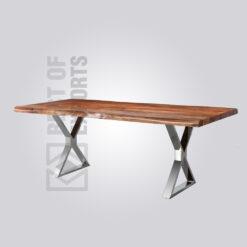 Nickel Finish Dining Table - X Shape Lag