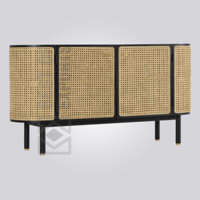 Oval Shaped Black Rattan Sideboard