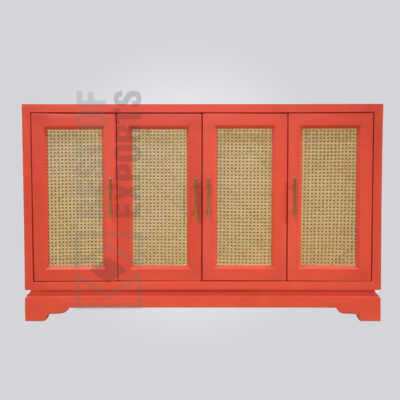 Painted Rattan Sideboard - Red