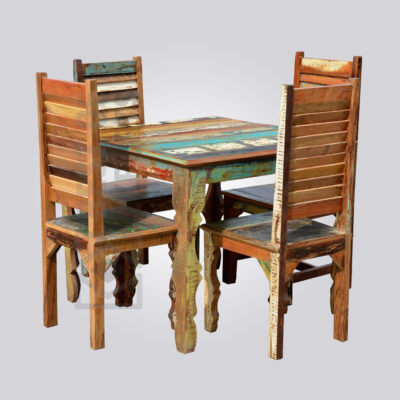 Reclaimed Wood 4 Seater Dining Set