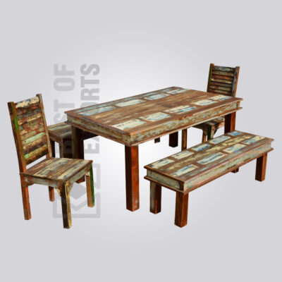 Reclaimed Wood 6 Seater Dining Set with Bench