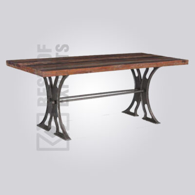 Reclaimed Wood Cast Iron Dining Table