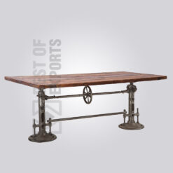 Reclaimed Wooden Top Crank Dining Table