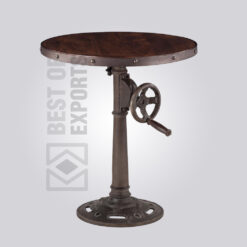 Round Crank Dining Table - Distressed