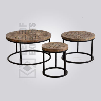 Round Industrial Coffee Table - Set of 3