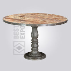 Round Industrial Pedestal Dining Table