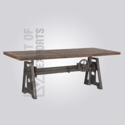 Rustic Wooden Top Crank Dining Table