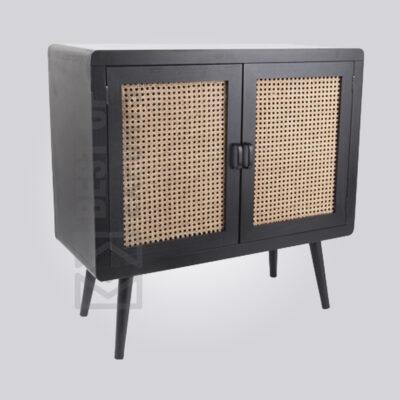 Small Black Rattan Door Sideboard