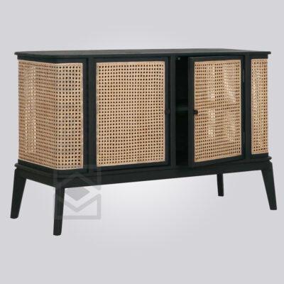 Stylish Black Cane Door Sideboard 2