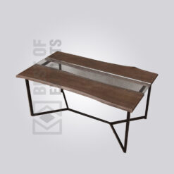 Wood & Glass Top Dining Table