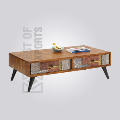 Wooden Coffee Table with Metal Cladding Drawers