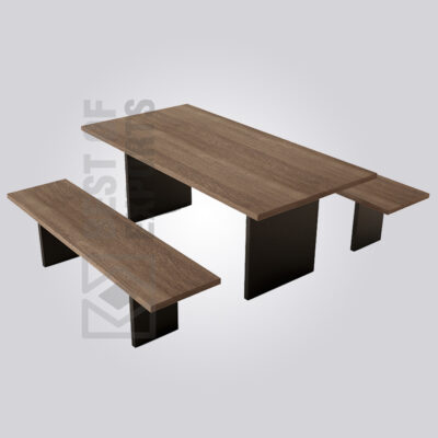 Wooden Dining Set with Benches