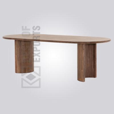 Wooden Oval Shape Farmhouse Dining Table