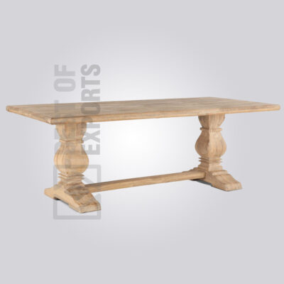 Wooden Pedestal 6 Seater Dining Table