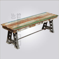 A shaped Cast Iron Reclaimed Wood Bench