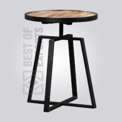 Adjustable Industrial Round Side Table