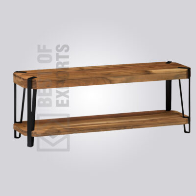 Closed Pine Wood and Metal Bench