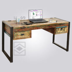Reclaimed Wood and Metal Desk