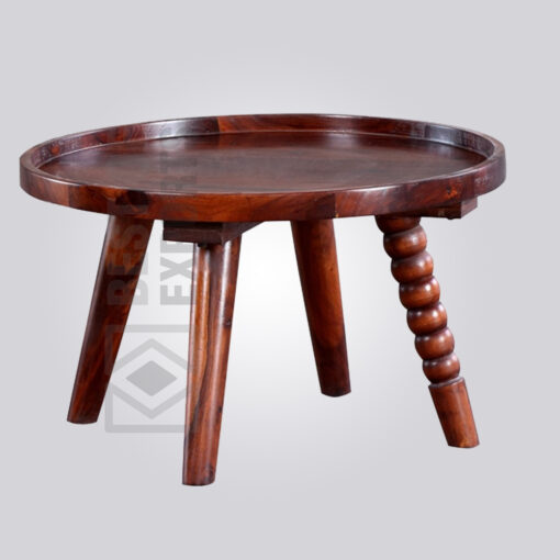 Round Wooden Abstract Coffee Table
